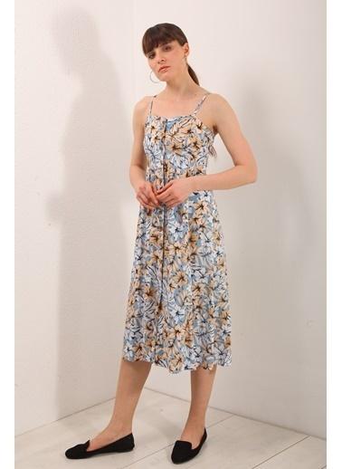 Reyon İp Asklı Çiçek Desen Elbise Mavi Mavi